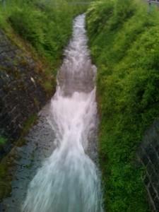 Der Caznerbach an der Gemeindegrenze zwischen Thusis und Summaprada (Cazis) führt zurzeit viel Wasser.