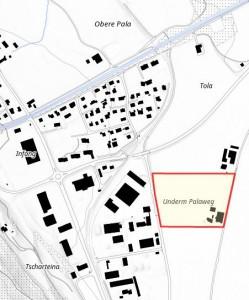 In Thusis ist ein Baugesuch für ein Gärsilo eingereicht worden (Plan: Amtliche Vermessung Graubünden)