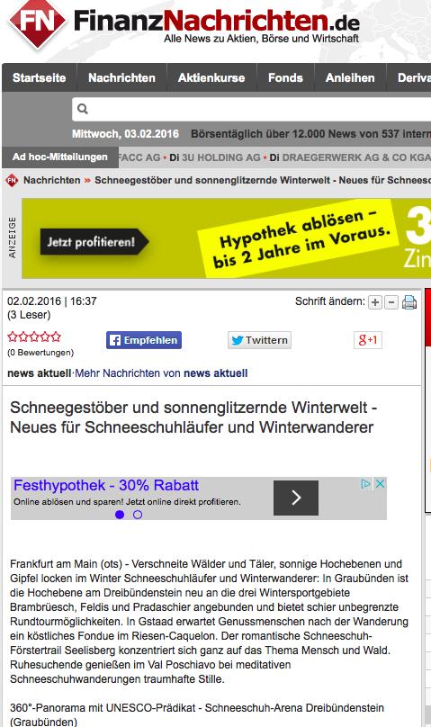 Bildschirmfotoausriß: FinanzNachrichten.de