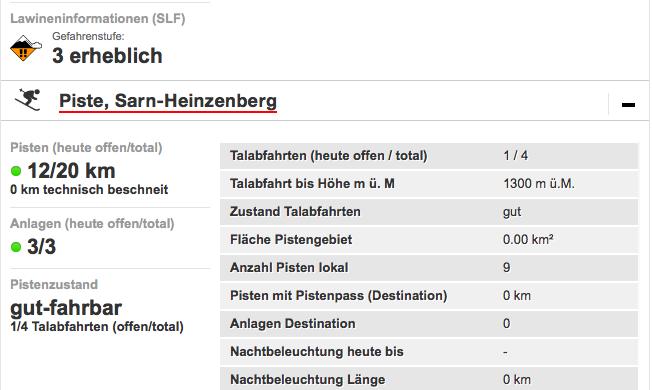 Schneebericht Sarn: Webseite Schweiz Tourismus