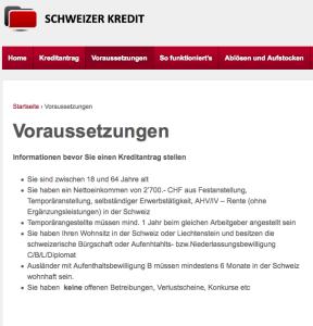 Bildschirmfotoausriß: Beispiel einer Kreditanbieterseite (Kredit Schweiz)