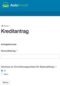 Bild: Beispiel einer Autokredit-Anbieterseite (Autokredit.ch)