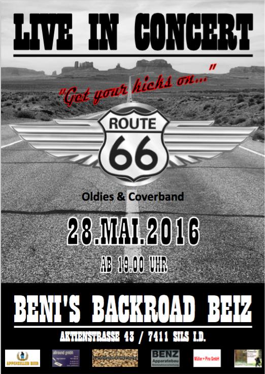 """Konzert in SilsBänd """"Route 66"""" mit Auftritt in Benis Beiz"""