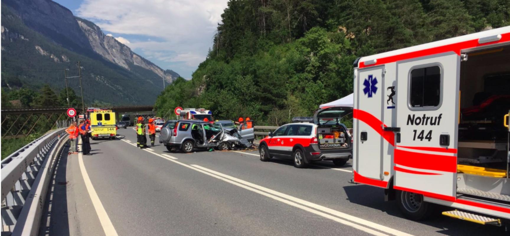 Bonaduz: Schwerer Unfall auf Autostraße A13