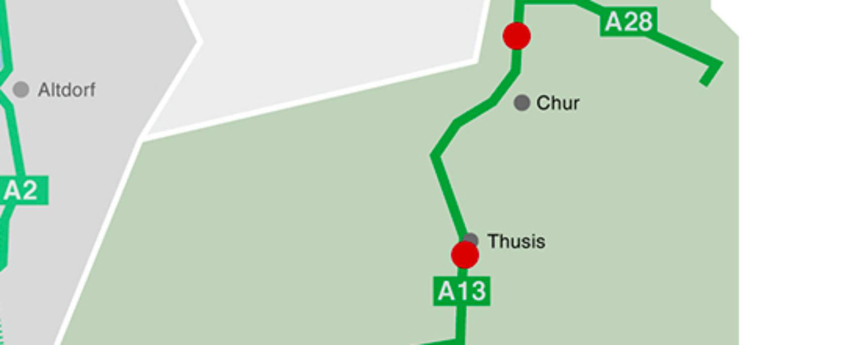 A13: Ab Thusis nur noch 80 Kmh erlaubt