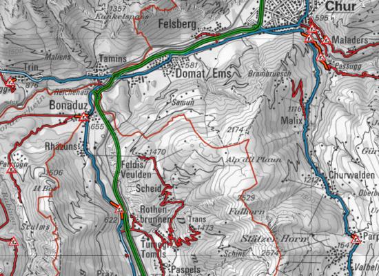 Zwischen Rothenbrunnen -Bonaduz – Reichenau: