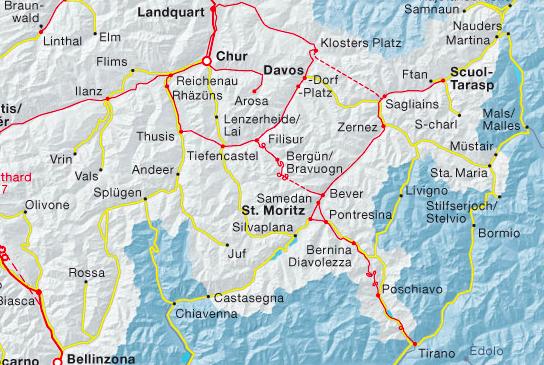 """Im Netzplan der SBB ist nebst dem Bahnhof Thusis nur der Bahnhof Rhäzüns als Anschluß- und Umsteigebahnhof vermerkt, die Stationen Bonaduz, Rothenbrunnen, Rodels-Realta und Cazis hingegen nicht. Insofern ist Thusis der """"Hauptbahnhof"""" des Domleschg."""