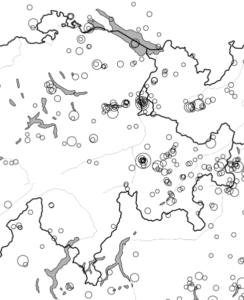 Epizenterkarte der seit 1975 erfaßten Beben mit Magnitude größer als 2.5. (Quelle: Schweizerischer Erdbebendienst)