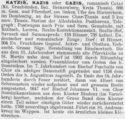 Als Cazis noch Katzis hieß: Lexikonauszug von 1902