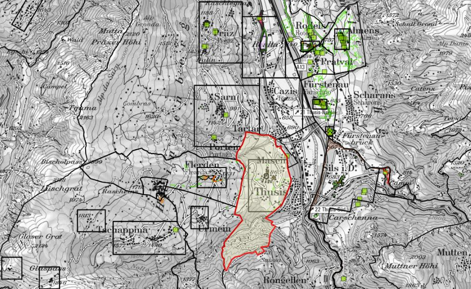 Die Ortsplanung betrifft alle. In Masein gibt es dazu einen Infoanlaß der Gemeinde. (Karten-Quellen: swisstopo (5704001726), Kanton GR)