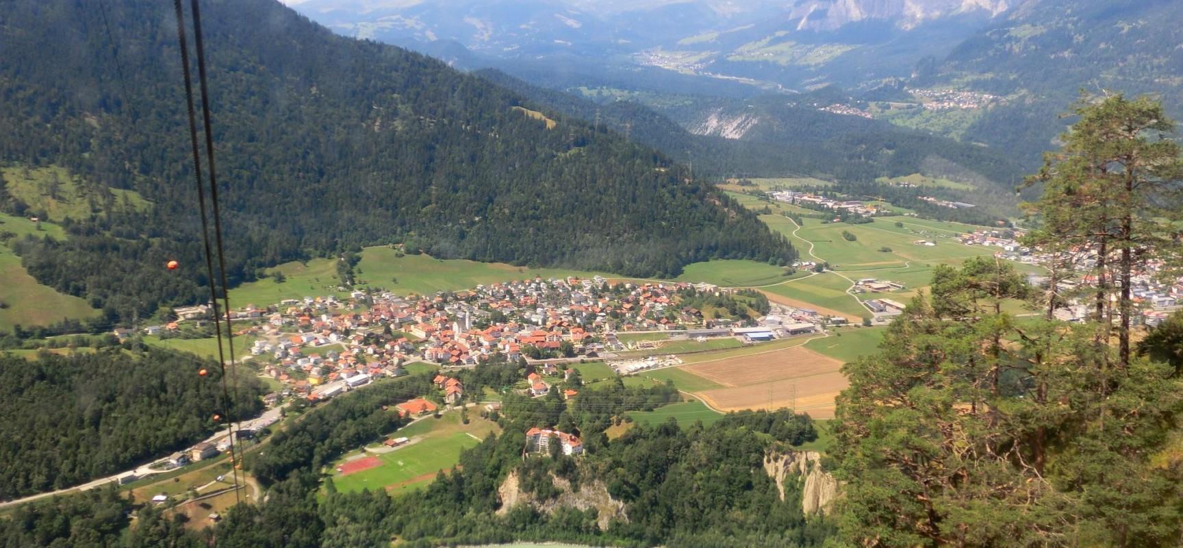 Mäandrierender Hinterrhein bei Rhäzüns